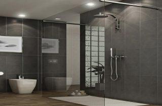douche en verre-salle de bain-noir-